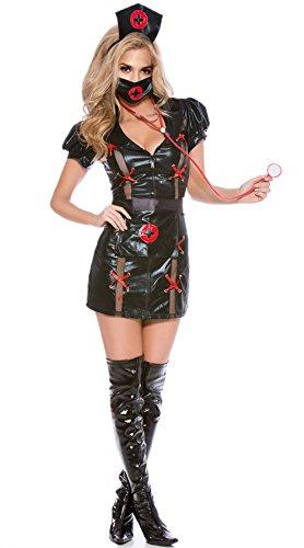 JJ-GOGO Cardiac Arrest Adult Women Sexy Black Nurse Costume (L(10-12)) (Womens Cardiac Arrest Nurse Costume)