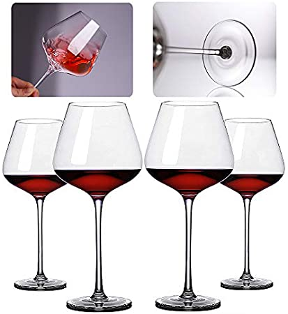 L-KCBTY Juego De Copas De Vino Tinto - Vasos De Cristal En Titanio Sin Plomo, Taza Grande 850 ml,Copas De Vino Tinto con Un Tallo Largo Transparente 4 Piezas
