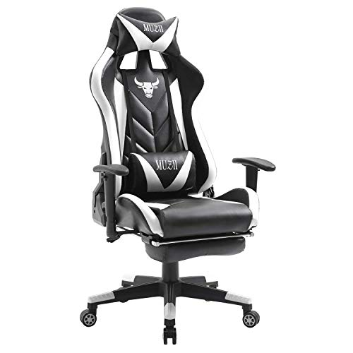 Muzii Gaming Chair Ergonomic High-Back PU Leather Office Chair Racing Style Computer Desk Chair Recliner with Footrest and Massage Lumbar Support (Black White) Muzii