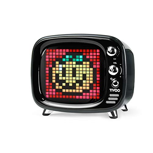 Divoom Tivoo Retro Bluetooth Speaker - Pixel Art DIY Box, RGB Programmable 16X16 LED, Support Android & iOS; TF/SD Card & AUX 3.9X3X3.3 inches