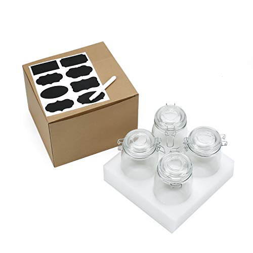 Wide Mouth Mason Jars, OAMCEG 4-Piece 1 L Airtight Glass Preserving Jars with Leak Proof Rubber Gasket and Clip Top Lids, Perfect for Storing Coffee, Sugar, Flour or Sweets - 8 Labels & 1 Chalk Marker by OAMCEG (Image #8)