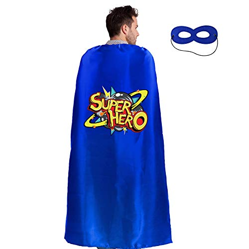 Adults Superhero Cape Cloak for Men & Women with Mask Dress up Party Costumes (Blue -