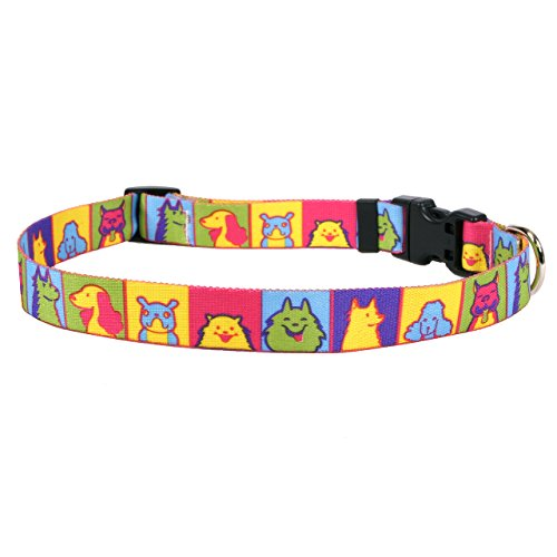 Yellow Dog Design Pop Art Dogs Dog Collar, Medium-1