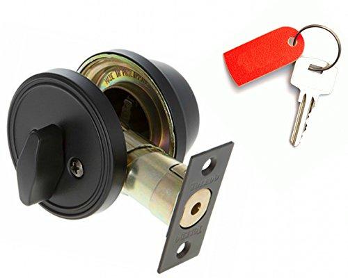 Deadbolt Lock Set Single Cylinder : Keyed Alike : Anti Bump & Pick Security Prevents Break Ins : Black Iron US514 : by ()