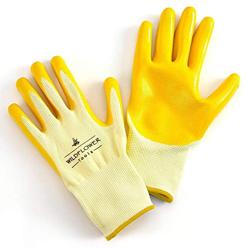 (WILDFLOWER Tools Yellow Gardening and Work Gloves for Men and Women (Large) | Nitrile Coating Protection)