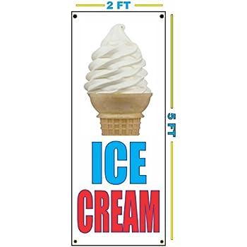 TWIST ICE CREAM CONE VERTICAL Banner Sign NEW