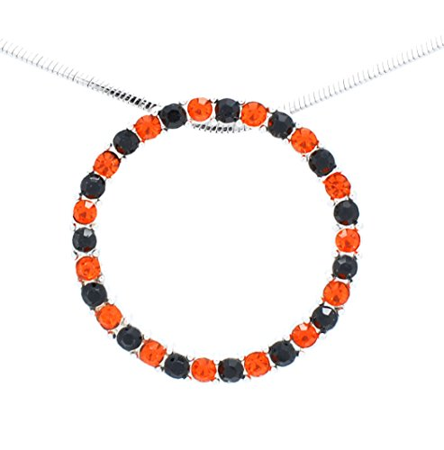 CIRCLE OF LIFE NECKLACE - INFINITY NECKLACE - CRYSTAL CIRCLE NECKLACE - ORANGE BLACK