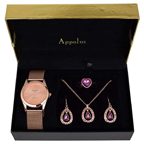 Appolus Birthday Necklace Watch Gift Set - Gifts for Mom Women Girlfriend Wife Anniversary Birthday Watch Jewelry Collection Rose Gold