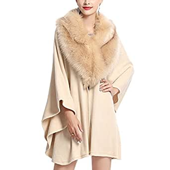 786c3cae55eb Image Unavailable. Image not available for. Color  Women s Faux Fur Shawl  Wraps Cloak Coat Poncho Cape Overcoat