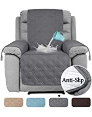 100% Waterproof Recliner Chair Covers for Armchairs Recliner Covers for Leather Chair Reclining Chair Covers Protect from Pets/Dogs, Quilted with Non Slip Backing and Strap (Oversized, Grey)