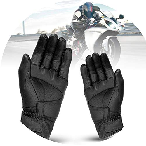 - Breathable Waterproof Motorcycle Gloves Black Leather Motorcycle Gloves,L,