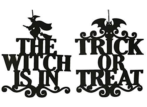 (Famyfirst Halloween Decorations Door Sign, 2 Pcs Witch Bat Trick or Treat Halloween Door Hanger Wall Sign for Door or Home)