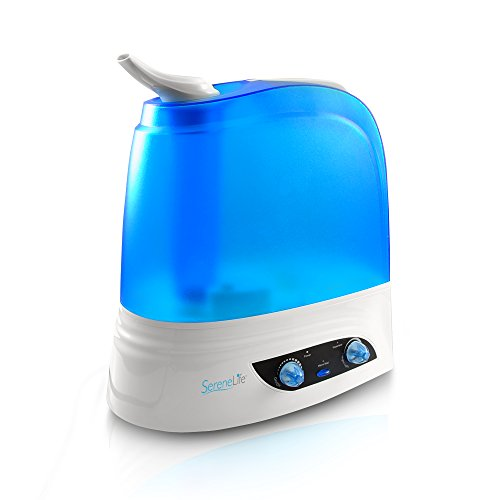 SereneLife Cool Mist Humidifier, Ultrasonic Humidifiers, Warm/Cool Mist Moisture for Home Bedroom W/ 7L Capacity, Includes Night Light, Classic Dial Knob Control, (PSLHUM80)