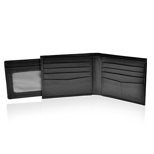 Pavia Mens Leather Bi-fold Slim Wallet RFID with Pull Out For Additional Cards (Black) ()
