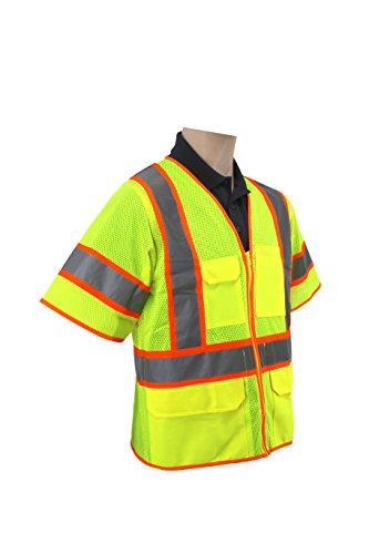 Brite Safety Style 1315 Hi Vis Safety Vest, Short Sleeve, Zipper Closure, Polyester Mesh, 6-pocket, ANSI 107 Class 3 (Extra Large, Hi Vis Yellow)