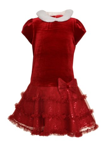 Jona Michelle Babygirls Drop Waist Velour Bodice Party Dress with Diaper Cover 12M Red
