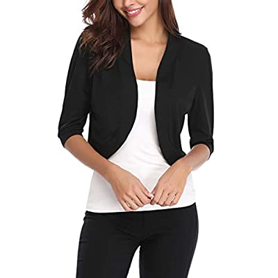 iClosam Women Open Front Cardigan 3/4 Sleeve Cropped Bolero Shrug Cardigan Sweater at Women's Clothing store