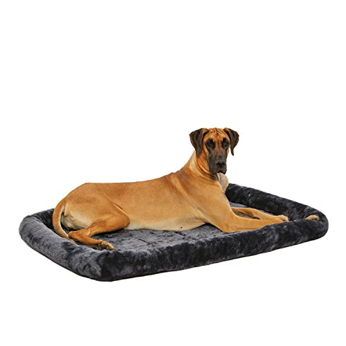 54L-Inch Gray Dog Bed or Cat Bed w/ Comfortable Bolster | Ideal for Giant Dog Breeds (Great Dane / Mastiff) & Fits a 54-Inch Dog Crate | Easy Maintenance Machine Wash & Dry | 1-Year Warranty