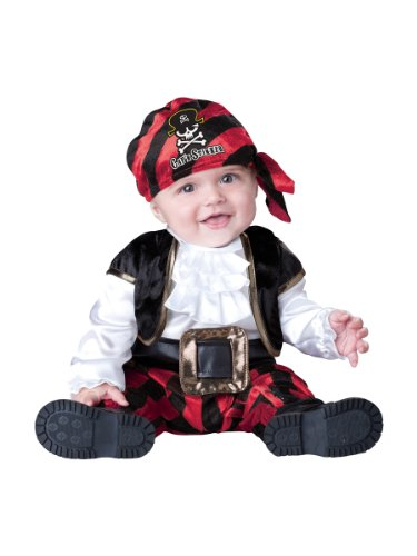 [InCharacter Costumes Baby's Cap'N Stinker Pirate Costume, Black/White/Red, Large] (Toddler Boys Pirate Costumes)