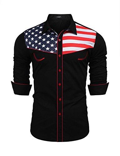 COOFANDY Men's Fashion Button Down Shirts Casual American Flag Long Sleeve Shirt, Black, XX ()