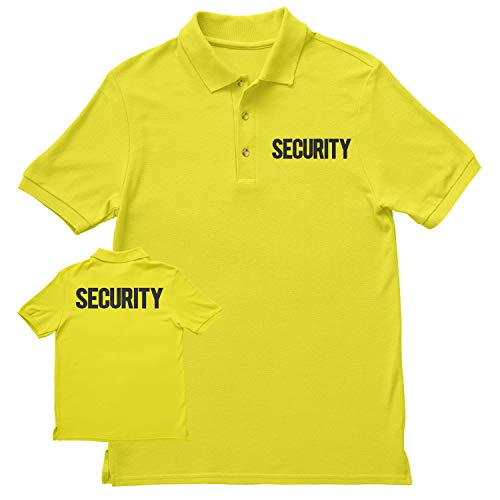 NYC FACTORY Security Polo Shirt Front Back Print Mens Tee Staff Event Uniform Bouncer Screen Printed (Safety Green-Black, XL)