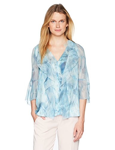 Elie Tahari Women's Faith Blouse, Stratus, L - Elie Tahari Women Shirts