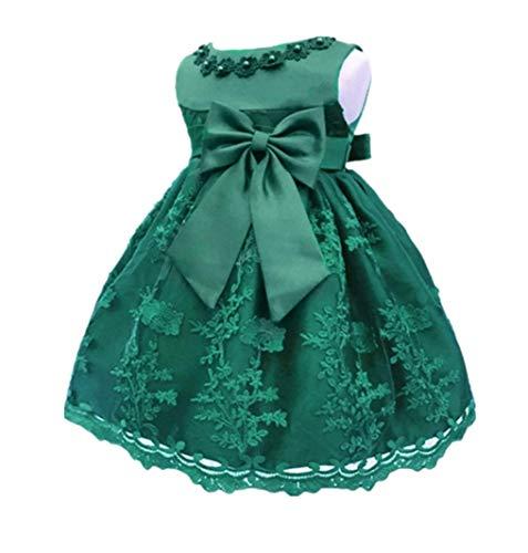 (H.X Baby Girl's Newborn Bowknot Gauze Christening Baptism Dress Infant Flower Girls Wedding Dresses 13 Color (6M/6-9 Months, Dark Green) )