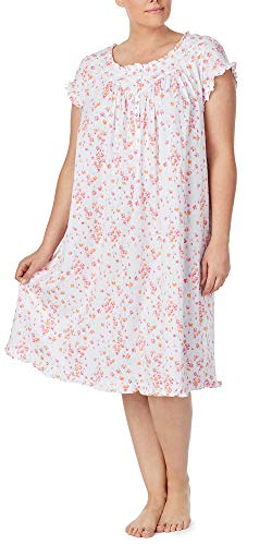 (Eileen West Plus Cotton Knit Cap Sleeve Nightgown in Sugar Daisy (White/Pink/Peach, 3X))