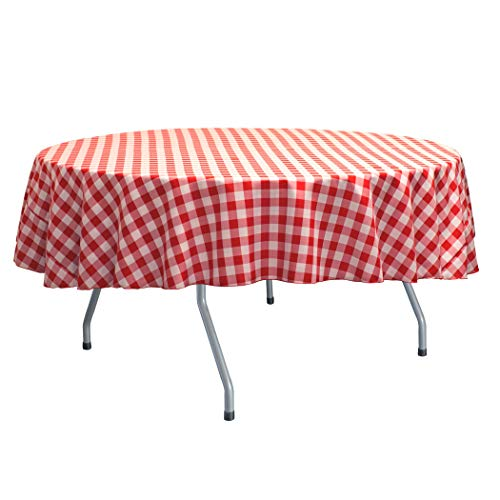 Ultimate Textile -10 Pack- 72-Inch Round Polyester Gingham Checkered Tablecloth, Red and White