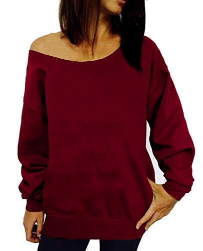 RJXDLT Women's Off Shoulder Sweatshirt Slouchy Pullover Tops Long Sleeve Casual Shirt Red 2XL 107 by RJXDLT