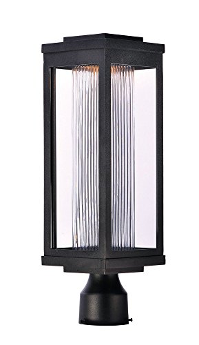 Ribbed Posts (Maxim 55900CRBK Salon LED 1-Light Outdoor Post, Black Finish, Clear Ribbed Glass, PCB LED Bulb , 60W Max., Dry Safety Rating, Standard Dimmable, Shade Material, 3360 Rated Lumens)