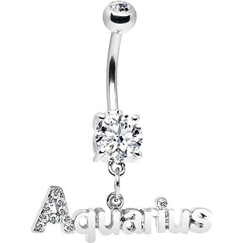 Crystalline Gem AQUARIUS Dangle Belly Ring (Crystalline Dangle Gem)