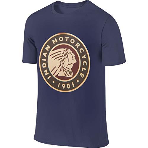 Syins Mens Customized Fashion Tees Indian Motorcycle Logo T-Shirts Navy