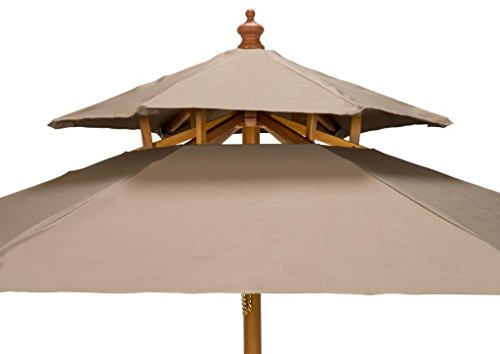 7' Wood 2 Tier Pagoda Style Patio Umbrella by Trademark Innovations (Tan) - 7' diameter, beech wood frame umbrella with double pulley system. Wood is treated with weather resistant lacquer finish 2 tier ventilated pagoda style top with 6 wood ribs Insert pole into base (not included) gently to avoid scratching - shades-parasols, patio-furniture, patio - 41n4Tpr11GL -