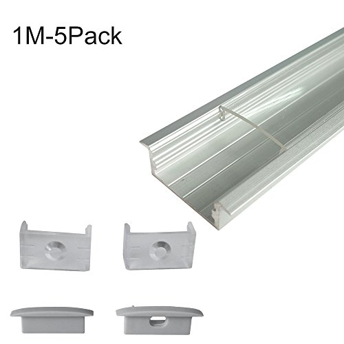 inShareplus 5Pack 3.3ft/1m LED Aluminum Channel Profile, Aluminum Extrusion with Clear Cover U-Shape Surface Mount for Double Row 3528 5050 LED Strip Lights (Flush Clear Led)
