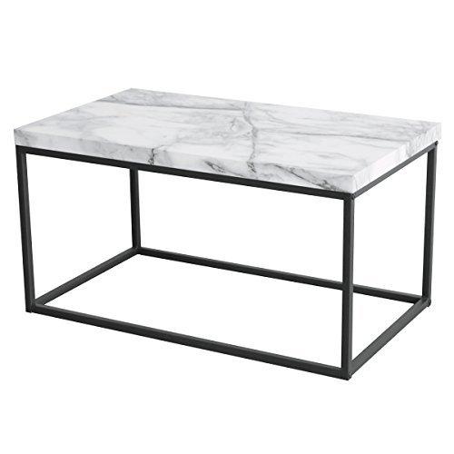 Faux Marble Accents (Tilly Lin Modern Accent Faux Marble Top Coffee Table for Living Room, Black Metal Frame, Carrara)