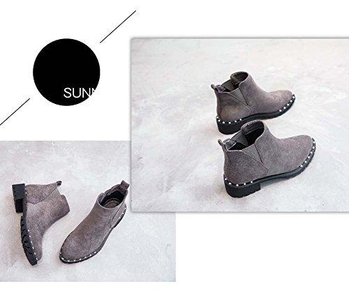 Estilo UK7 Femenino Ocasional De Suecouk3 Con Las Botas Botas Retro De Gray Boots Remaches Cortas Martin Mujeres Grueso Nieve 5fxngT8