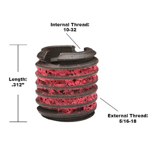 C12L14 Carbon Steel Meets AISI 12L14 5//16-18 External Threads 0.315 Length Made in US #10-32 Internal Threads Pack of 10 E-Z Lok Externally Threaded Insert 0.315 Length 5//16-18 External Threads
