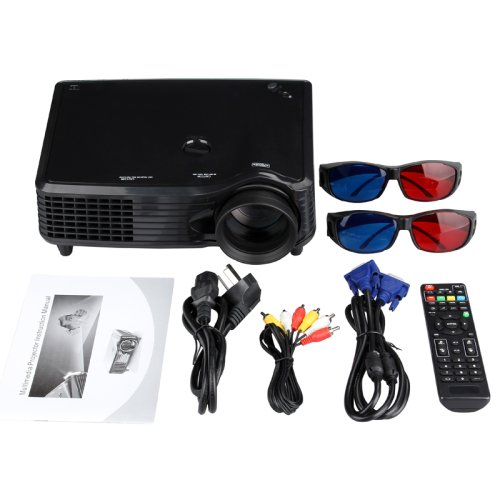 LightintheboxVS-508 1080p 3D Multimedia LED 3000 Lumens LCD Full HD Projector, Cinema Theater Projector, for Business Movie PC Laptop HDMI USB VGA TV