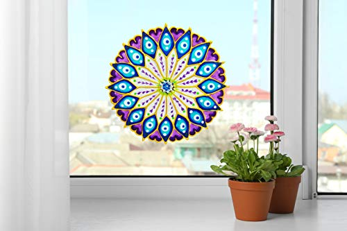 Mandala Window Home Decor, 8.5 Inch Purple Blue Peelable glueless Window Cling, Suncatcher Effect, Geometric Indian Art, Yoga Studio, Spiritual Gift, Window Decor, Boho Decor, Peacock Mandala Artisan