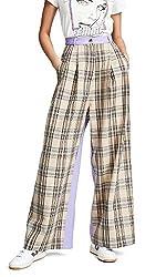 Natasha Zinko Women S Wide Leg Pleated Trousers Beige Plaid Lilac 40