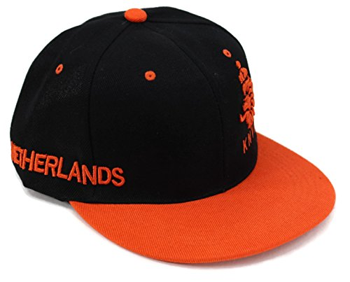 High End Hats World Football/Soccer Team Flat Brim Hat Collection Embroidered Adjustable Hip Hop Style Snapback Baseball Cap, Netherlands with Logo, Orange Brim Logo Adjustable Hat