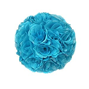 Ben Collection Fabric Artificial Flowers Silk Rose Pomander Wedding Party Home Decoration Kissing Ball Trendy Color Simulation Flower (Turquoise, 25cm) 110