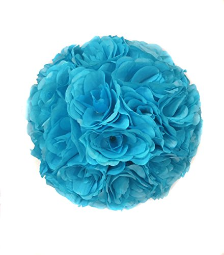 Ben Collection Fabric Artificial Flowers Kissing ball 10 Inch Turquoise