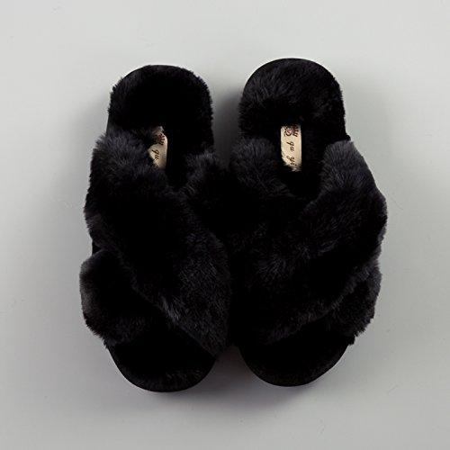 LaxBa Lhiver au chaud, lhiver Chaussons Chaussons moelleux Accueil chaleureux en hiver, chaussures antiglisse Chambre Chaussons noir Croix38-39