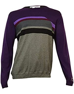 Calvin Klein Men's Colorblocked Crew-Neck Sweater (Blackberry Cherry, XXL)