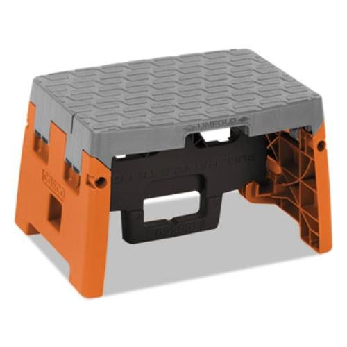 One-Step Folding Step Stool, 300 lb, 8 1/2 Working Height, Orange/Gray 8 1/2 Working Height Unknown FBA_11903BGO1E