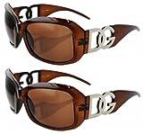 2 Pairs of BROWN DG Eyewear Designer Womens Fashion Sunglasses