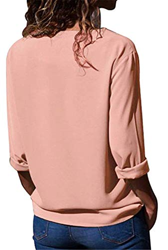 Shirt Chemisier Blouse Longues Femme Haut Manches Chic Button Tunique Top Casual Rose Mode T Up TB7T4rx