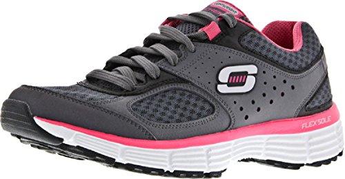 Skechers - Zapatillas de Material Sintético para mujer gris oscuro/rosa